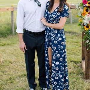 Navy floral romper with train/ skirt